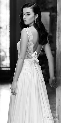 maison signore 2017 bridal sleeveless deep plunging v neck heavily embellished bodice sexy romantic soft a  line wedding dress open scoop back chapel train (elida) bv -- Maison Signore Exquisite Made in Italy Wedding Dresses