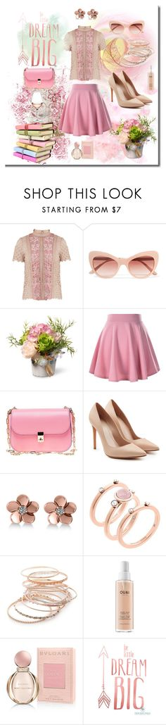 """Dream Big / Pink Skirt"" by neesyrn ❤ liked on Polyvore featuring self-portrait, Dolce&Gabbana, National Tree Company, Valentino, Alexander McQueen, Allurez, Michael Kors, Red Camel, Ouai and Bulgari"