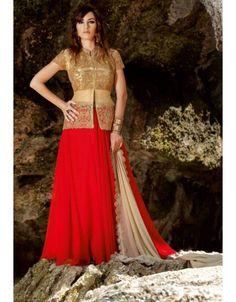 Glamorous Golden and Red #Lehenga #Kameez Set