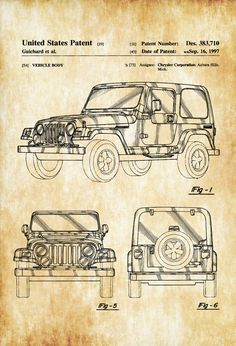 A patent print poster of a 1997 Jeep Wrangler TJ designed for Chrysler Corporation. The patent was issued by the United States Patent Office on September 6, 1997. Contrary to popular belief, the Wrangler is not a direct descendant of the World War II Willys MB or Willys civilian Jeeps (Jeep CJ) . Patent prints ...