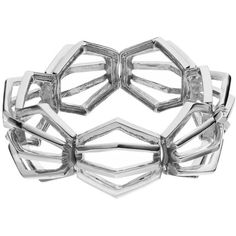 Coco Lane Hexagon Stretch Bracelet (20 CAD) ❤ liked on Polyvore featuring jewelry, bracelets, grey, hexagon jewelry, stretch jewelry and grey jewelry