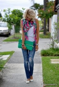 I am not sure where everything is from, but the idea here is look how easy it is to dress up a simple white tank  jeans with a colorful, patterned scarf!!! Oh the possibilities are endless kids:)  REHEARSAL DINNER