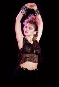 """Madonna photographed by Kees Tabak, 1984 "" Madonna Outfits, Madonna Fashion, Michigan, Madonna Photos, La Madone, Madonna Mode, 1980s Madonna, Lady Madonna, Black Suspenders"