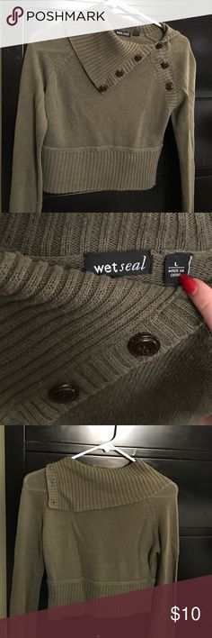 Olive green crop sweater Large- worn a few times, still in great condition Wet Seal Sweaters Cardigans