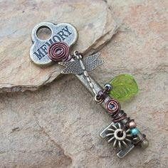Shamble Ramble: Handmade Dragonfly Wire Wrapped Steampunk Key Pendent
