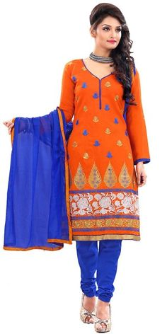 Fashionable Orange Silk Straight Suit With Dupatta.