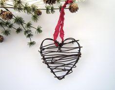 Heart Ornaments - Christmas ornament Rustic Christmas Wedding decor wedding favor rustic christmas decor Cowboy gift for him men. $16.00, via Etsy.