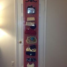 Upcycled shudder from my grandparent's home: used to store purses