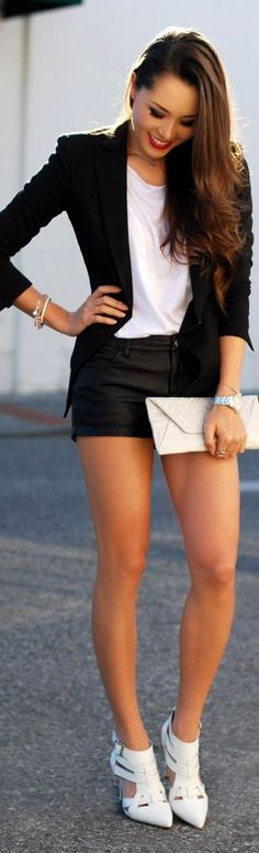 Chic Black Blazer , White Top and Leather Short | ...