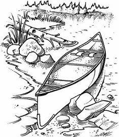 Canoe Scene M-119 : Rubber Art-Stamps : Decorative Rubber Stamps : The Stampin' Place
