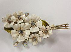 Retro Vintage  Coro White Enamel Rhinestone Flower Pin by COBAYLEY, $25.00