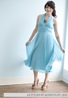 This sky-blue, Hollywood-inspired, halter dress