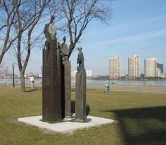 Art Gallery of Windsor Grounds.Photos taken from Windsor Ontario, Detroit Mi.in Background
