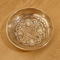 Solid Brass Bowl with a floral design   Vintage Heavy by UKAmobile