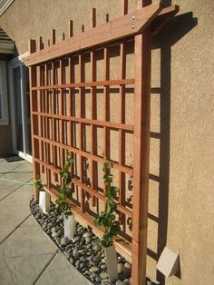 Garden trellis on the side of a house or garage.                                                                                                                                                      More