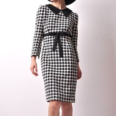 LIMITED Black White Houndstooth Wool Blended Bow Lady Winter Dress. $229,80, via Etsy.