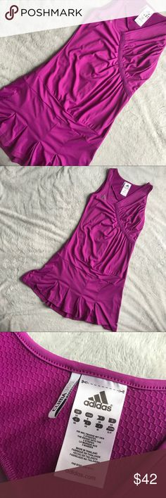 Adidas Adilibria Tennis Golf Dress Purple Excellent used condition. Adilibria Dress by Adidas in violet purple. Perfect for tennis or golf. Sleeveless drop-waist dress with pleats on shoulder and bottom skirt for movement & ease. Same style and color worn by Ana Ivanovic in 2009 French Open. Adidas logo on front chest and back near neckline. Size 8, see photos for measurements. adidas Dresses