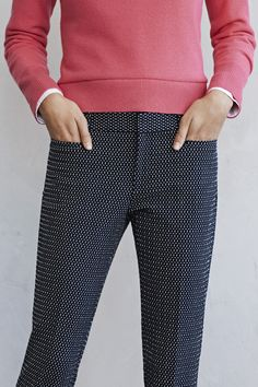 Add a bit of fun to your office wear with these navy printed ankle pants and soft pink cashmere sweater   Banana Republic