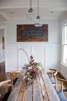 rustic table with clean lines on chairs- 15 Rooms Flaunting Tried & True Farmhouse Tables | Design*Sponge
