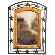 Metal  Wood Star Mirror $59.95