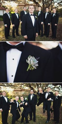 Groom and groomsmen look handsome and polished in JoS. A Bank apparel, photography by Ben Sasso