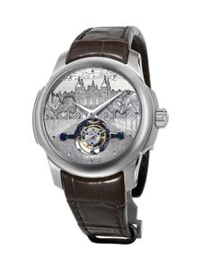 This unique piece from Ateliers deMonaco - the Tourbillon Casino de Monte-Carlo - is meant to honor the historical casino found in the indie brand's hometown of Monaco.  Its 44-mm white gold case with a titanium core holds the brand's first patented in-house movements, the automatic dMc-980 caliber, also known as the Tourbillon XP1.