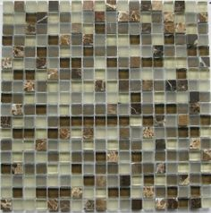 Marble Discount Espresso Stone And Glass Blelnd Mosaic Wall Tile 5 8 X 5