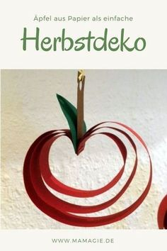 DIY Apfeldeko - - DIY Apfeldeko Papier Beautiful autumn decoration: paper apples quick and easy to make yourself. decoration # Crafts for autumn Diy Crafts For Teens, Fun Diy Crafts, Winter Crafts For Kids, Fall Crafts, Kids Diy, Kids Crafts, Simple Crafts, Decor Crafts, Home Decor