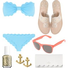Preppy day at the beach by ecarts18 on Polyvore featuring polyvore, fashion, style, Marysia Swim, Jack Rogers, Kate Spade, Dogeared, RetroSuperFuture and Essie