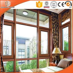 Popular Double Glazed Aluminum Wooden Tilt and Turn Window Two Way Opening