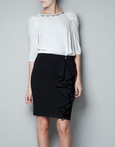 adfdfc09248668 TOP WITH APPLIQUÉS ON SHOULDER - Shirts - Woman - ZARA United States Beaded  Collar