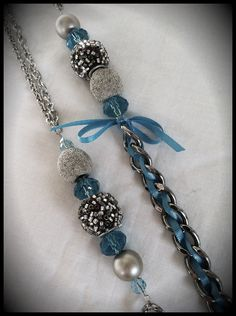 Long chain and braided ribbon necklace $18.00