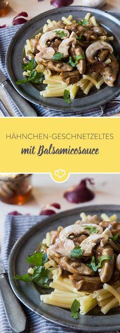 Was so raffiniert schmeckt, ist tatsächlich in nur 25 Minuten auf dem Tisch: Hähnchen anbraten, Gemüse dazu, mit Balsamico und Honig ablöschen - fertig.