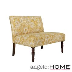 angelo:HOME Bradstreet Vintage Sun-washed Floral Tan Armless Settee | Overstock.com