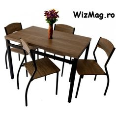 Set masa cu 4 scaune WIZ MBS-3 The Wiz, Outdoor Furniture, Outdoor Decor, Dining Table, Home Decor, Decoration Home, Room Decor, Dinner Table, Dining Room Table