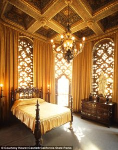 The incredibly opulent home (palace) of William Hearst, inspiration for Citizen Kane. This is one of its bedrooms. I mean...