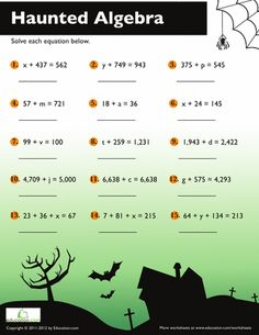 Halloween Algebra. I shall remember this for my students.