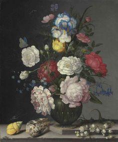 Балтазар ван дер Аст. Натюрморт с цветами в вазе, ландышами и раковинами на столе