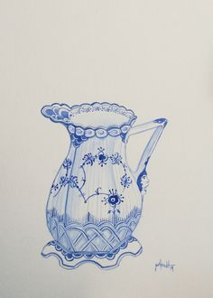 Blue fluted creamer, watercolor by Lilyoake