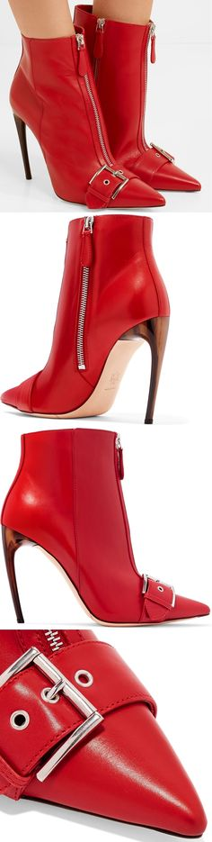 We're still obsessed with red accessories for Fall '17 and Alexander McQueen's ankle boots will freshen up even the most classic of outfits. Crafted from smooth leather, this point-toe pair is detailed with punk-inspired silver zips and buckled straps.
