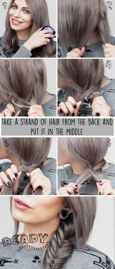 How to do a fishtail braid step by step | tutorial | easy & fast | gray hair