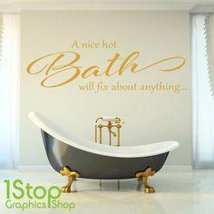 A NICE HOT BATH WALL STICKER QUOTE - BATHROOM SHOWER BATH X382
