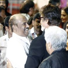 100 Yrs of Cinema: Legends felicitated.  Rajnikanth greets Amitabh Bachchan during the closing ceremony of 100 Years of Indian Cinema Celebrations, held in Chennai. www.moviegalleri.net