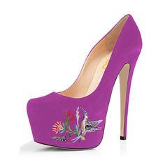 afaf823806cd While Supplies Last Women s Orchid Embroidery Platform Heels Stiletto Pumps   elegantshoegirl  shoes  ankle