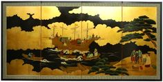 Oriental Furniture Classic Japanese Chinese Asian Wall Art, 36 by 72Inch Dragon Boat Oriental Gold Leaf Screen Painting