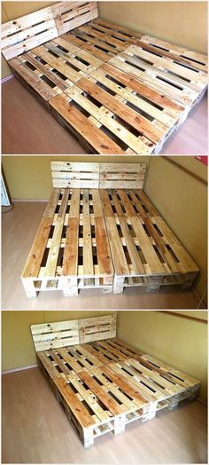 Now I dont think that I have to prepare a case before I go into the details of this certain wood pallet project because every one of us is aware of the importance of the wooden room bed. Just imagine how would it sound to have a room wooden pallet bed w Pallet Bed Frames, Diy Pallet Bed, Wooden Room, Wooden Pallet Projects, Wooden Pallet Furniture, Wooden Pallets, Diy Furniture, Furniture Movers, Pallet Ideas