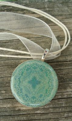 Antiqued Teal Blue Round Wood Pendant Necklace by KKMaries on Etsy, $9.00