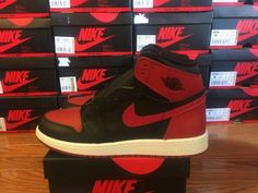 "Nike Air Jordan 1 Retro 1 ""Banned"" GS Black Red 575441-001 - Size 4.5Y #Jordan #Athletic"