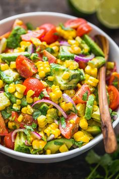 Avocado Corn Salad is a bright and feel good salad loaded with grilled corn, creamy avocado, cherry tomatoes and the dressing gives it amazing fresh flavor. A crowd pleasing fresh corn salad that always dissapears fast! Corn Salad Recipe Easy, Corn Salad Recipes, Summer Salad Recipes, Corn Salads, Avocado Recipes, Tuna Recipes, Fresh Corn Recipes, Crowd Recipes, Mexican Salad Recipes