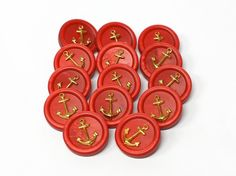 Vintage red nautical buttons